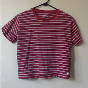 cropped striped red Hollister t-shirt